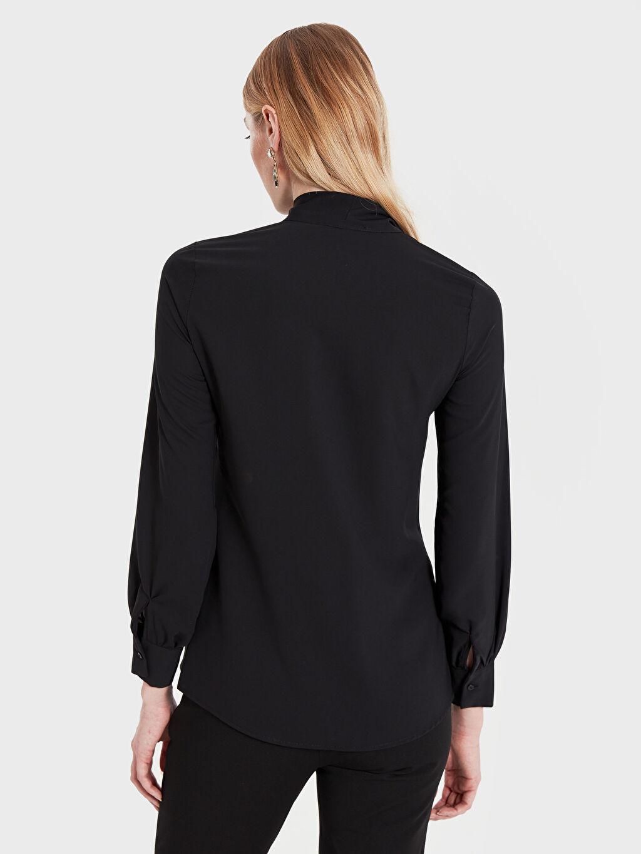 Kadın Sateen Şal Yaka Düz Gömlek