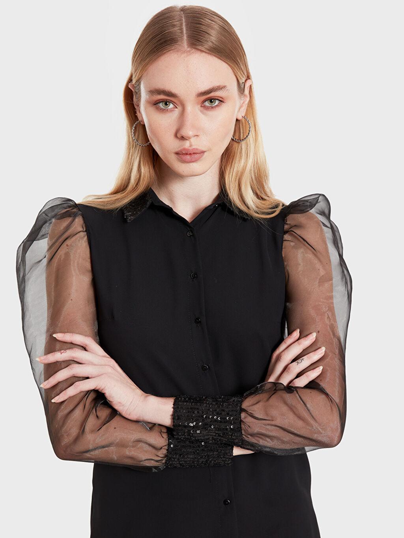 %100 Polyester Çelikli İnterlok Dar Şık Asimetrik Tunik Sateen Kolları Tül Detaylı Pul İşlemeli Gömlek