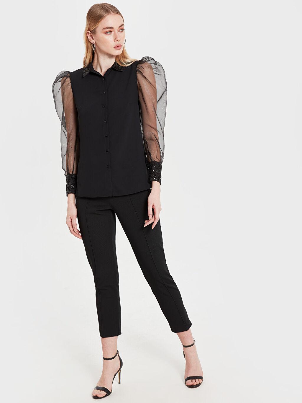 Kadın Sateen Kolları Tül Detaylı Pul İşlemeli Gömlek