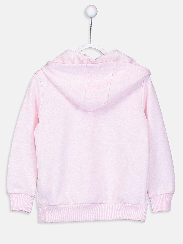 %64 Pamuk %36 Polyester Kapüşonlu Düz Üç İplik Sweatshirt Kız Çocuk Fermuarlı Kapüşonlu Sweatshirt