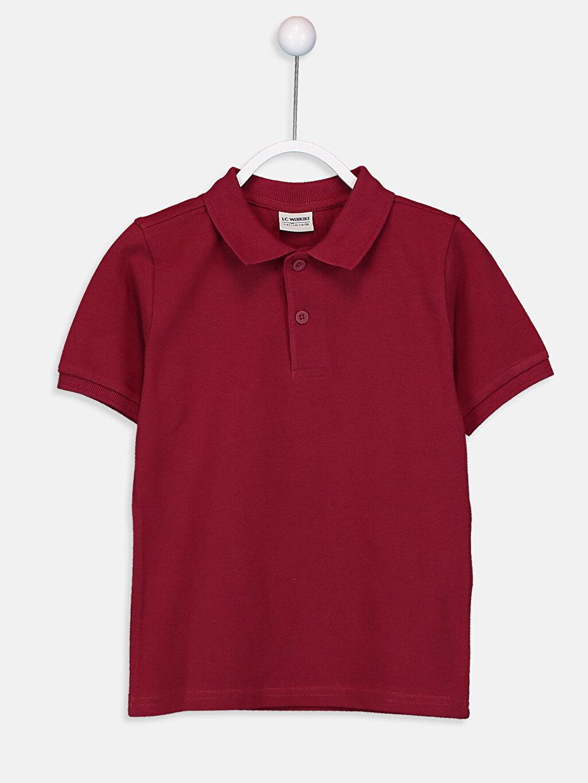 Bordo Erkek Çocuk Pamuklu Basic Tişört 9W0930Z4 LC Waikiki