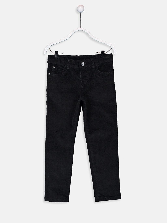Siyah Erkek Çocuk Slim Fit Kadife Pantolon 9W0935Z4 LC Waikiki