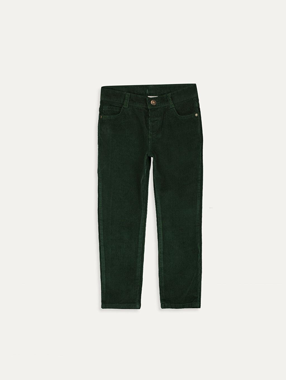 Yeşil Erkek Çocuk Slim Fit Kadife Pantolon 9W0935Z4 LC Waikiki
