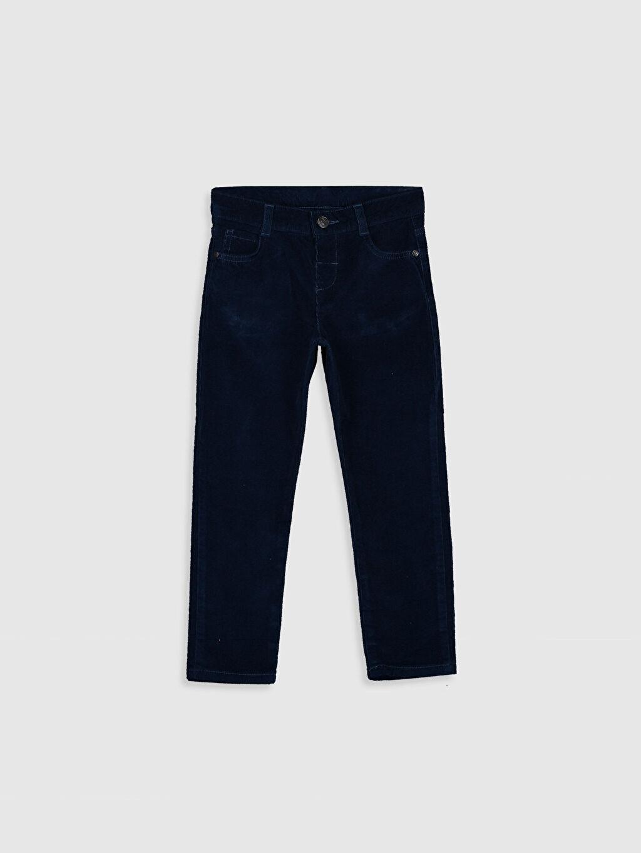 Lacivert Erkek Çocuk Slim Fit Kadife Pantolon 9W0935Z4 LC Waikiki