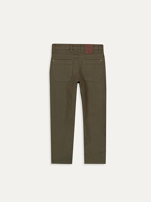 %98 Pamuk %2 Elastan Aksesuarsız Düz Gabardin Normal Bel Astarsız Dar Beş Cep Pantolon Erkek Çocuk Slim Gabardin Pantolon