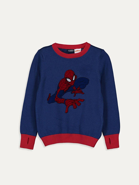 Lacivert Erkek Çocuk Spiderman İnce Triko Kazak 9W1144Z4 LC Waikiki