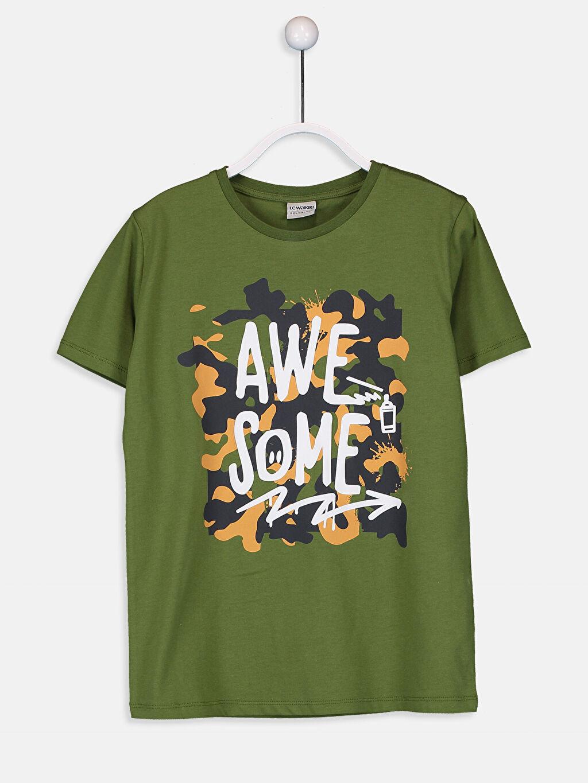 Yeşil Erkek Çocuk Baskılı Pamuklu Tişört 9W1213Z4 LC Waikiki