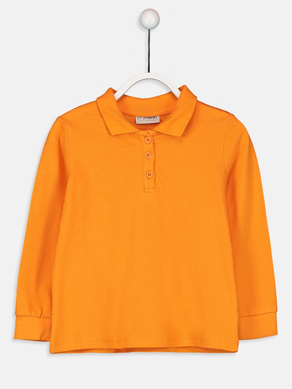 Turuncu Kız Çocuk Pamuklu Basic Tişört 9W1440Z4 LC Waikiki