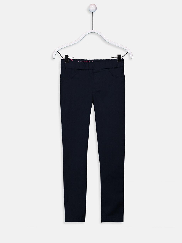 Lacivert Kız Çocuk Skinny Gabardin Pantolon 9W2238Z4 LC Waikiki
