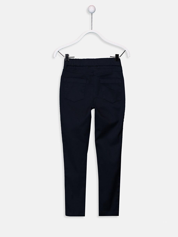 %65 Pamuk %32 Polyester %3 Elastan Düz Gabardin Normal Bel Dar Pantolon Kız Çocuk Skinny Gabardin Pantolon