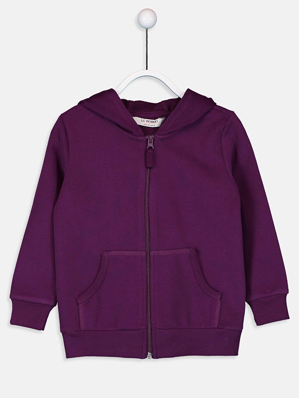 Mor Kız Çocuk Fermuarlı Kapüşonlu Sweatshirt 9W2445Z4 LC Waikiki