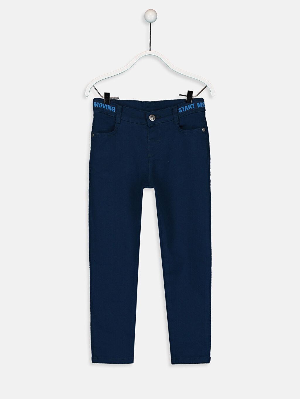Lacivert Erkek Çocuk Skinny Armürlü Pantolon 9W2548Z4 LC Waikiki