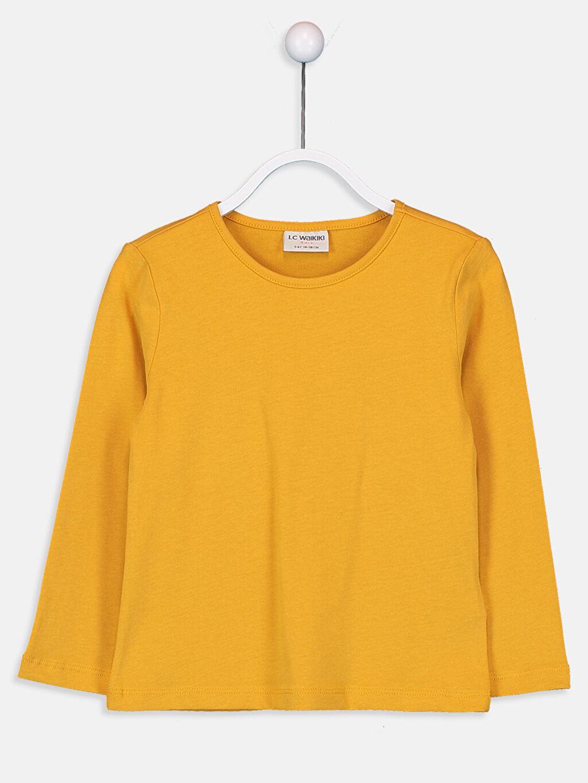 Sarı Kız Çocuk Pamuklu Basic Tişört 9W2619Z4 LC Waikiki