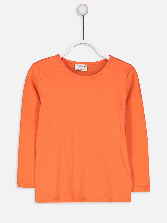 Turuncu Kız Çocuk Pamuklu Basic Tişört 9W2619Z4 LC Waikiki