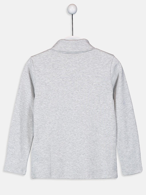 %98 Pamuk %2 Viskon %100 Pamuk Tişört Uzun Kol Düz Ribana Balıkçı Yaka Standart Kız Çocuk Pamuklu Basic Tişört