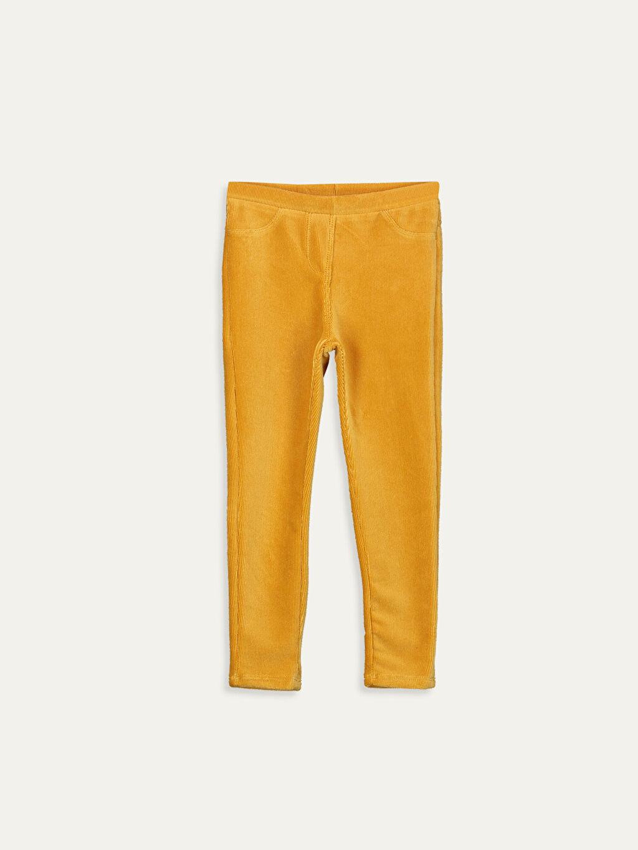 Sarı Kız Çocuk Uzun Kadife Tayt 9W2663Z4 LC Waikiki