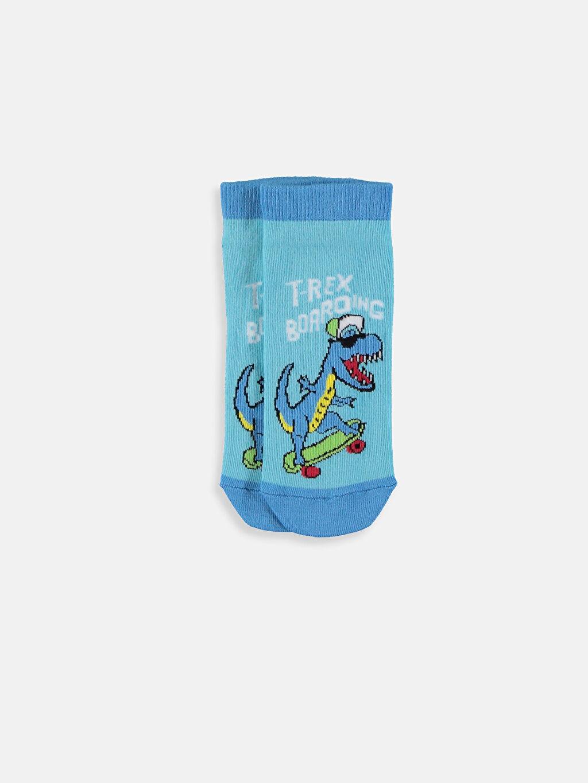 %64 Pamuk %17 Polyester %17 Poliamid %2 Elastan Patik Çorap Kendinden Desenli Dikişli Erkek Çocuk Patik Çorap 5'li