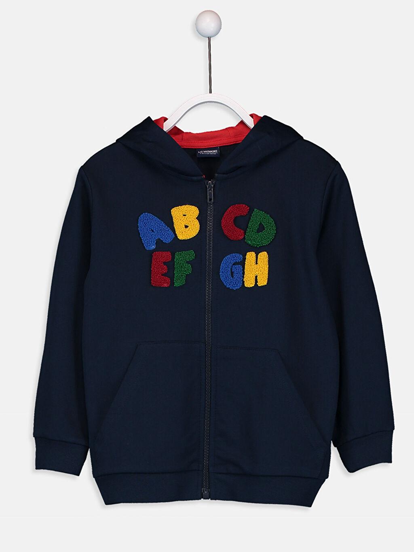 Lacivert Erkek Çocuk Nakışlı Fermuarlı Sweatshirt 9W2790Z4 LC Waikiki