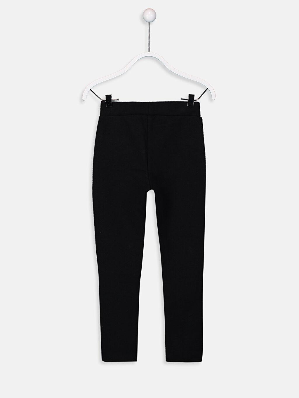 %74 Pamuk %24 Polyester %2 Elastan Normal Bel Uzun Düz Eşofman Altı Çelikli İnterlok Standart Kız Çocuk Tayt Pantolon