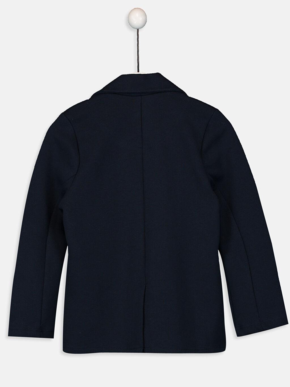 %74 Pamuk %24 Polyester %2 Elastan Çelikli İnterlok Ceket İnce Kapüşonsuz Düz Kız Çocuk Blazer Ceket
