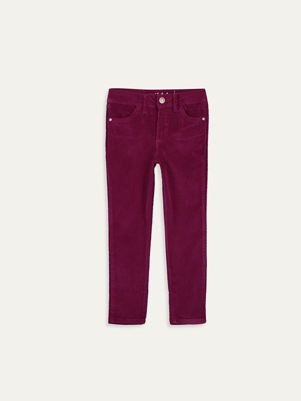 Mürdüm Kız Çocuk Skinny Kadife Pantolon 9W3595Z4 LC Waikiki