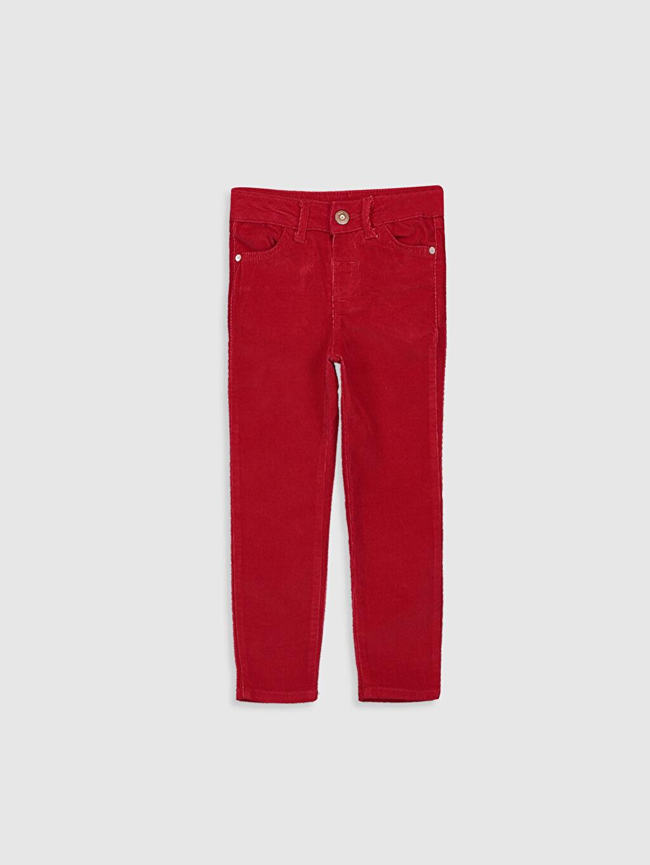 Kırmızı Kız Çocuk Skinny Kadife Pantolon 9W3595Z4 LC Waikiki