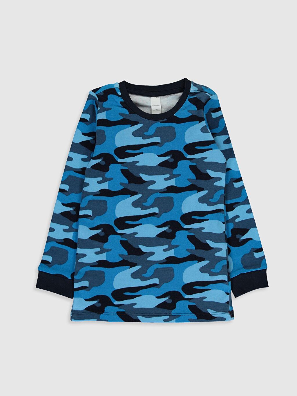 Mavi Erkek Çocuk Kamuflaj Desenli Pamuklu Pijama Üst 9W3672Z4 LC Waikiki