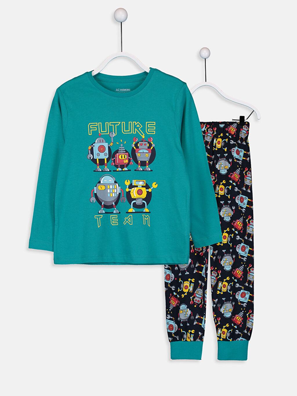 Turkuaz Erkek Çocuk Baskılı Pamuklu Pijama Takımı 9W3682Z4 LC Waikiki