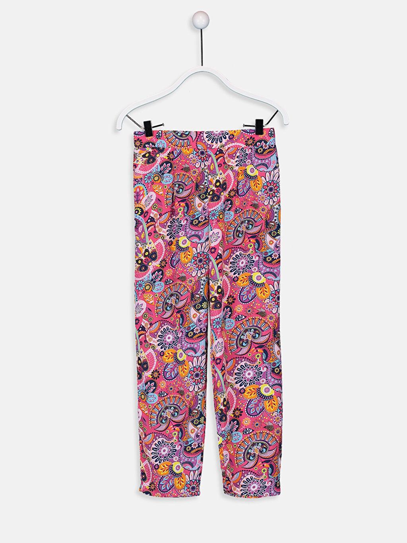 Pembe Kız Çocuk Desenli Viskon Pantolon 9W4497Z4 LC Waikiki