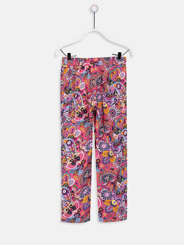 %100 Viskoz Pantolon Standart Baskılı Normal Bel Kız Çocuk Desenli Viskon Pantolon