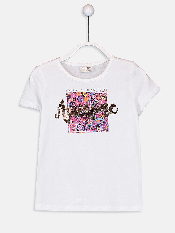 Beyaz Kız Çocuk Baskılı Pamuklu Tişört 9W4578Z4 LC Waikiki
