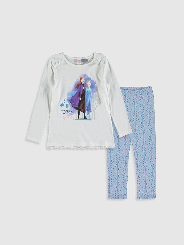Ekru Kız Çocuk Frozen Baskılı Pamuklu Pijama Takımı 9W5115Z4 LC Waikiki