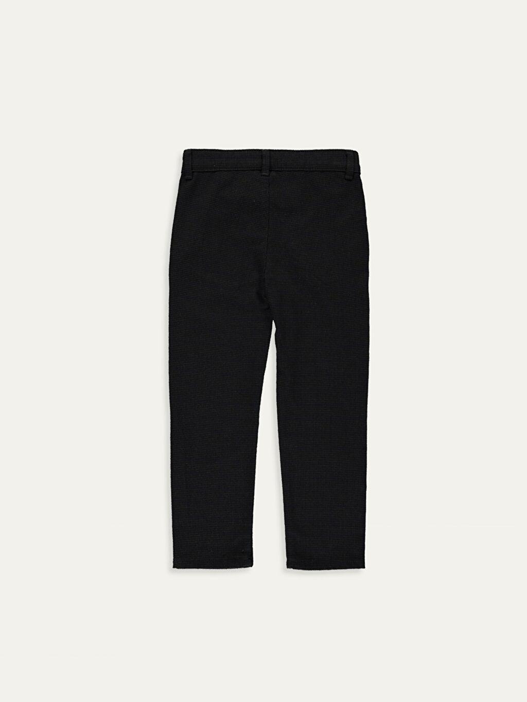%64 Polyester %3 Elastan %33 Viskoz Aksesuarsız Ekose Normal Bel Astarsız Dar Pantolon Gabardin Erkek Çocuk Slim Chino Pantolon
