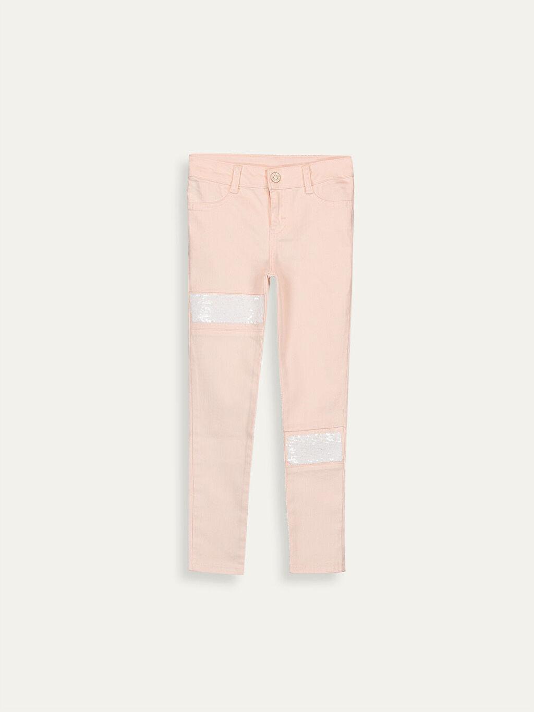 Pembe Kız Çocuk Çift Yönlü Payetli Skinny Pantolon 9W5669Z4 LC Waikiki