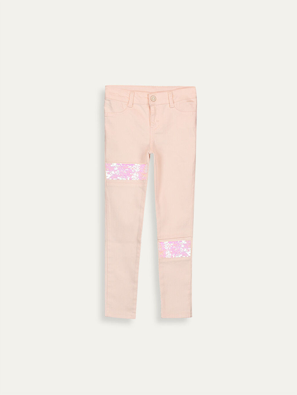 %98 Pamuk %2 Elastan Normal Bel Dar Pantolon Düz Gabardin Kız Çocuk Çift Yönlü Payetli Skinny Pantolon
