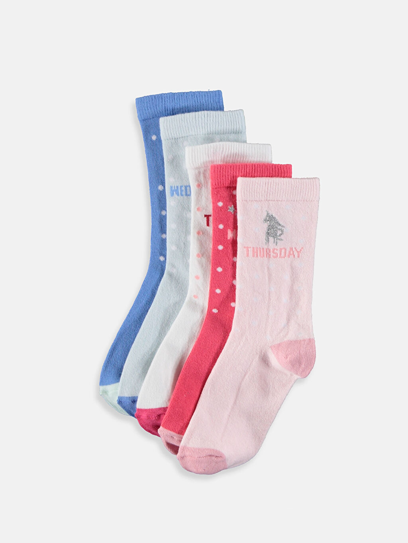 Pembe Kız Çocuk Soket Çorap 5'li 9W5941Z4 LC Waikiki