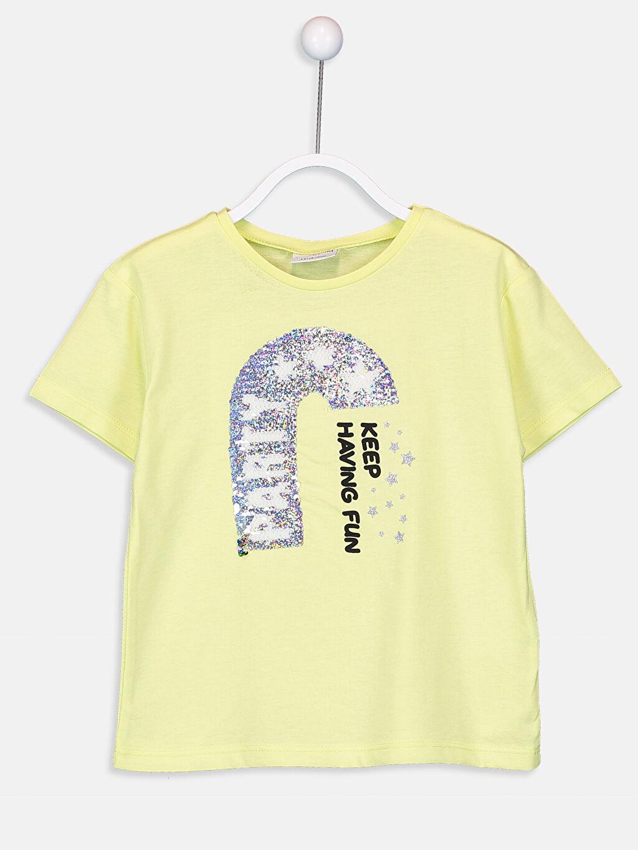 %50 Pamuk %50 Polyester Standart Baskılı Tişört Bisiklet Yaka Kısa Kol Penye Kız Çocuk Çift Yönlü Payetli Tişört