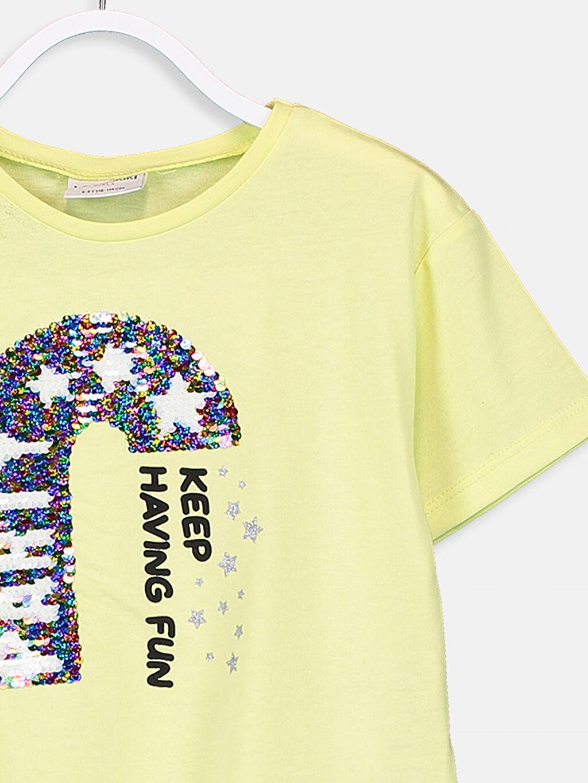 %50 Pamuk %50 Polyester Kız Çocuk Çift Yönlü Payetli Tişört