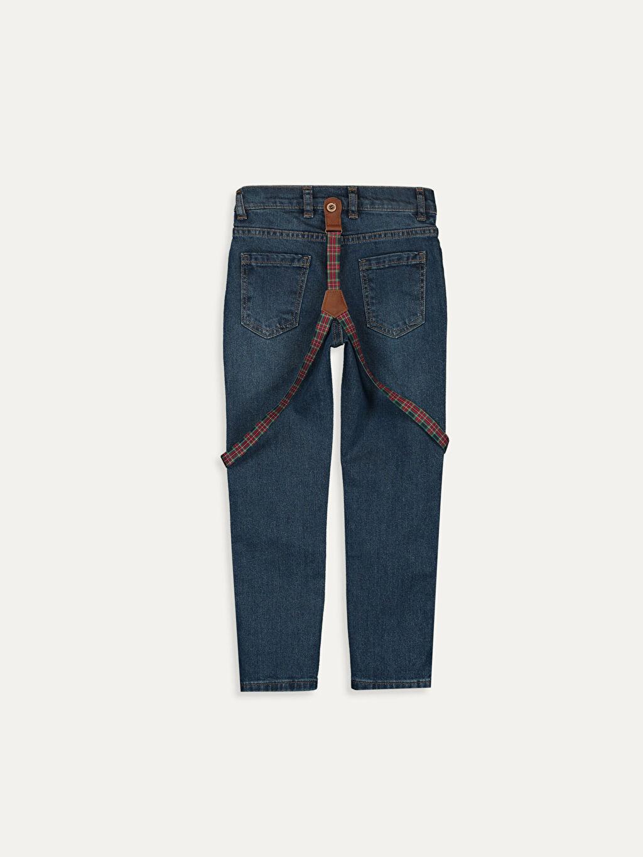 %99 Pamuk %1 Elastan Beş Cep Düz Normal Bel Astarsız Dar Jean Askı Erkek Çocuk Jean Pantolon ve Askı