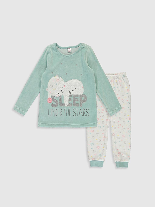 Mavi Kız Çocuk Baskılı Kadife Pijama Takımı 9WG347Z4 LC Waikiki