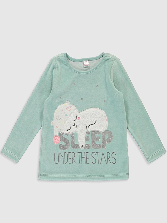 Kız Çocuk Kız Çocuk Baskılı Kadife Pijama Takımı