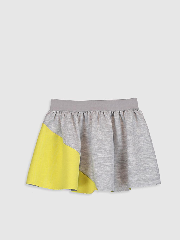%76 Polyester %19 Viskoz %5 Elastan Etek Düz Standart Kız Çocuk Beli Lastikli Etek