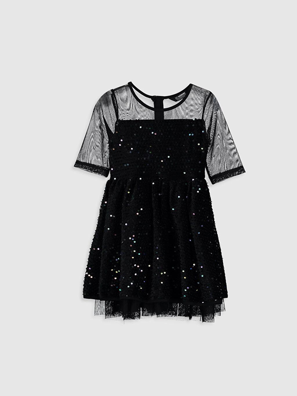 Siyah Kız Çocuk Pul İşlemeli Tüllü Elbise 9WG797Z4 LC Waikiki