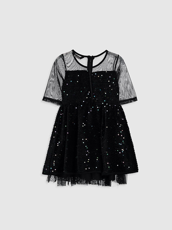 %100 Polyester %100 Pamuk Bebe Yaka Baskılı Elbise Tül Belden Oturtma Diz Üstü Kız Çocuk Pul İşlemeli Tüllü Elbise