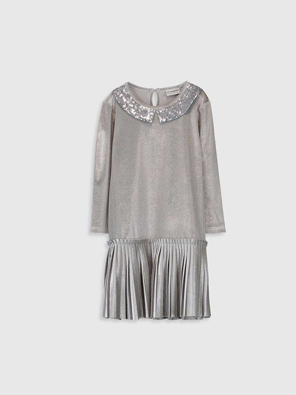 Gri Kız Çocuk Pileli Kadife Elbise 9WG968Z4 LC Waikiki