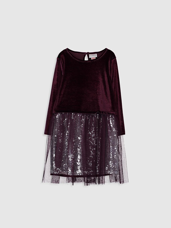 Bordo Kız Çocuk Pul İşlemeli Kadife Elbise 9WG972Z4 LC Waikiki