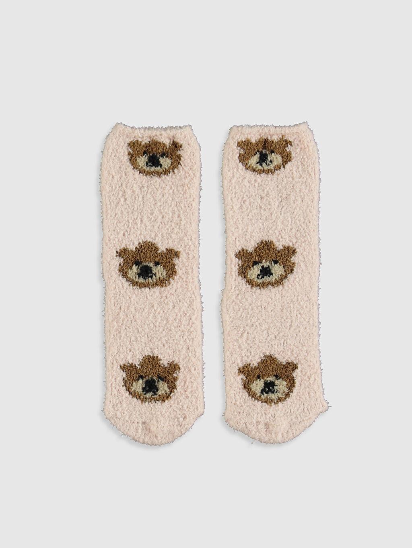 %99 Polyester %1 Elastan Ev Çorabı Şık Kalın Kız Çocuk Soket Ev Çorabı 2'li