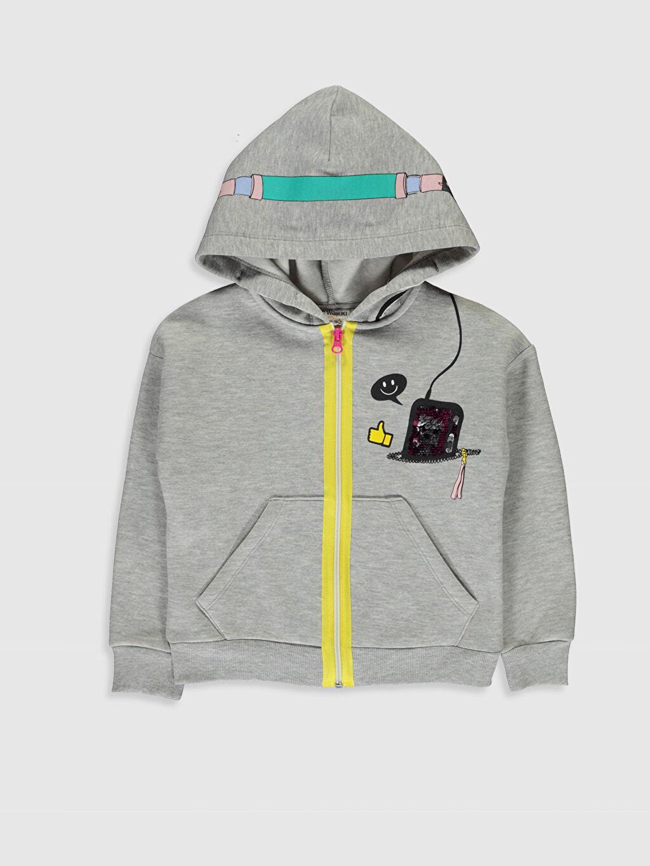 Gri Kız Çocuk Fermuarlı Kapüşonlu Sweatshirt 9WH449Z4 LC Waikiki