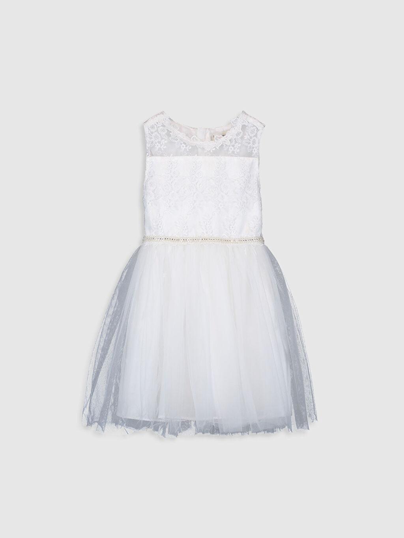 Beyaz Kız Çocuk Dantelli Tütü Elbise 9WH780Z4 LC Waikiki