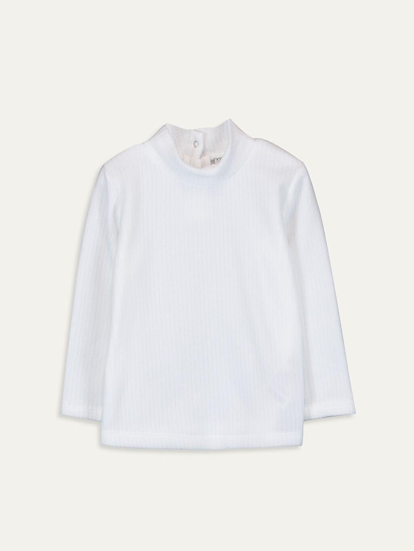 %100 Polyester Düz Balıkçı Yaka Standart Tişört Uzun Kol Kız Çocuk Uzun Kollu Tişört